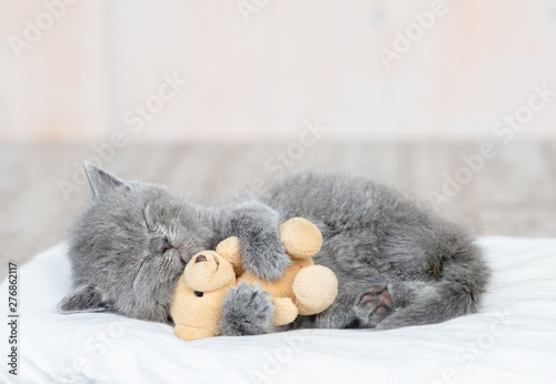 Fototapeta Baby kitten sleeping with toy bear on the bed at home