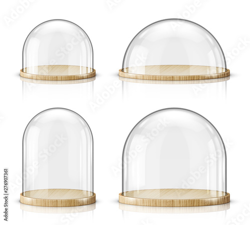 Foto Glass dome and wooden tray realistic vector