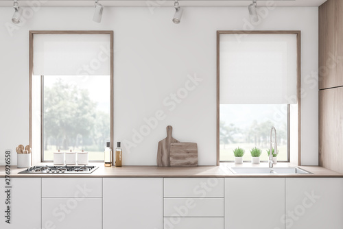 White kitchen countertops in loft room