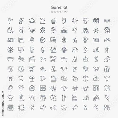 Wallpaper Mural 100 general outline icons set such as fretsaw, nippers, dyupel, nuts, deckchair,