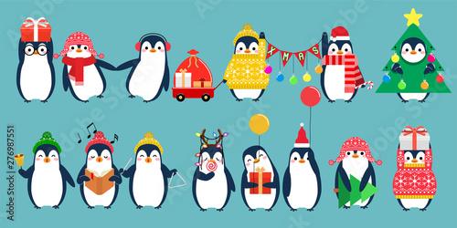 Carta da parati Christmas penguin characters
