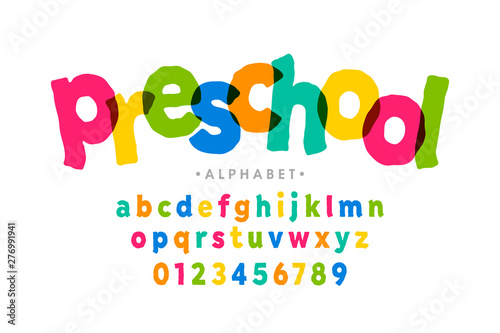 Preschool, kids style colorful font, alphabet letters and numbers