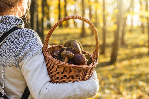 Photo Woman with mushrooms in wicker basket in autumn forest