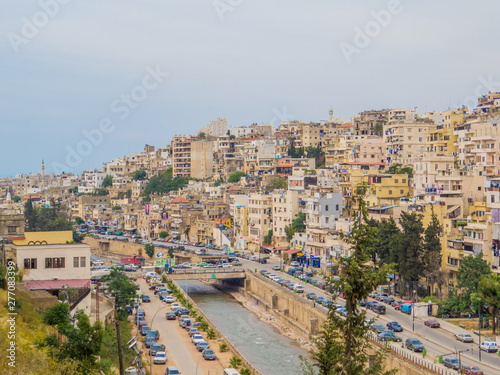 TRIPOLI, LEBANON - MAY 25, 2017: Aerial view of the city of Tripoli in north Lebanon.