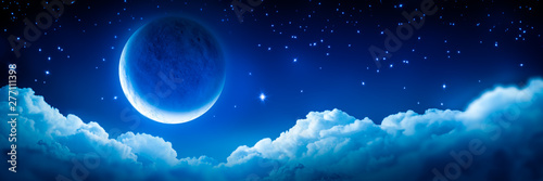 Fényképezés Banner Of Bright Glowing Crescent Moon Above Fluffy Clouds With Starry Sky Backg