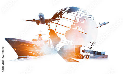 Obraz na plátně The world logistics , there are world map with logistic network distribution on