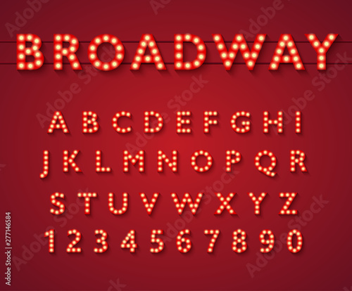 Fotografia Light bulb alphabet in Broadway theatre style, vintage glowing bright letters and numbers with yellow lamps and shadows on red background