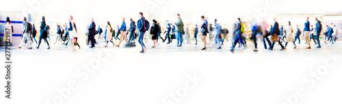 Obraz na płótnie Beautiful motion blur of walking people in train station