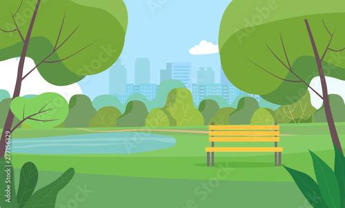 Canvas Print Landscape in city park . Vector flat style Illustration.