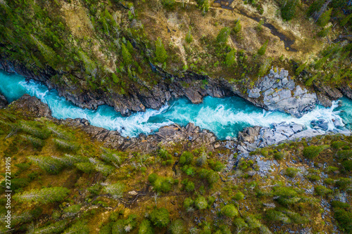 Fotografia Aerial Vertical View Over The Surface Of A Mountain River Glomaga, Marmorslottet
