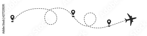 Fotografie, Tablou Plane path with location pins vector illustration