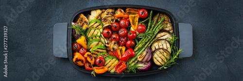 Seasonal summer grilled vegetables in a pan