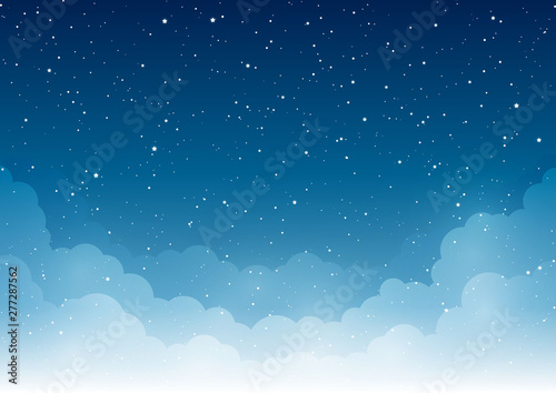 Night starry sky with clouds for Your design