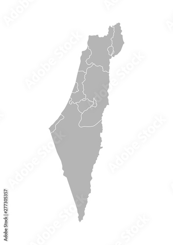 Photo Vector isolated illustration of simplified administrative map of Israel