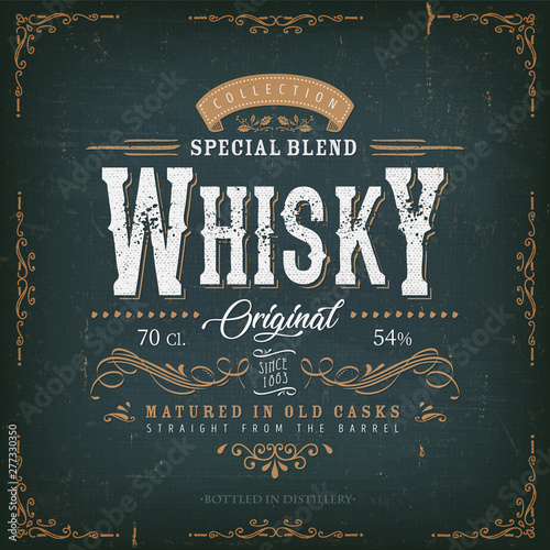 Vintage Whisky Label For Bottle/ Illustration of a vintage design elegant whisky Fototapete