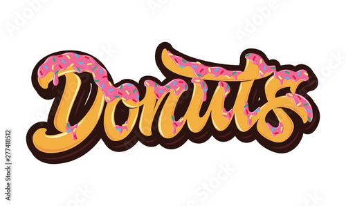 Foto The bright orange word Donuts poured pink caramel with multi-colored sprinkles on top