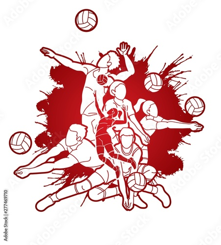 Photo Group of Volleyball players action cartoon graphic vector.