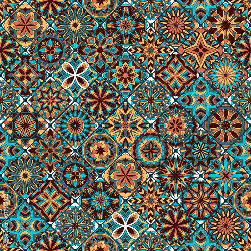Fototapeta Ornate floral seamless texture, endless pattern with vintage mandala elements