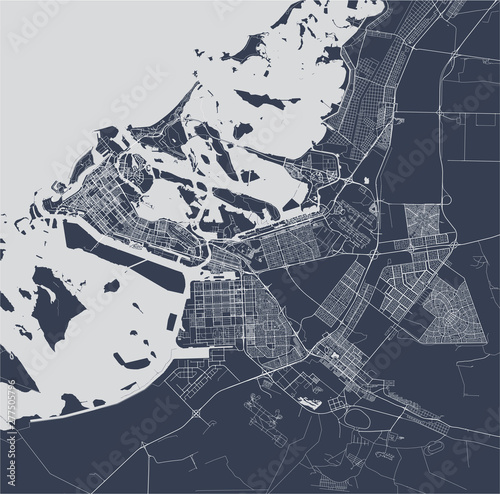 Fotografie, Obraz vector map of the city of Abu Dhabi, United Arab Emirates (UAE), Emirate of Abu