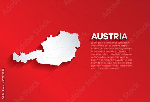 Carta da parati Austria Map with shadow