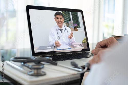 Slika na platnu Doctor on video conference