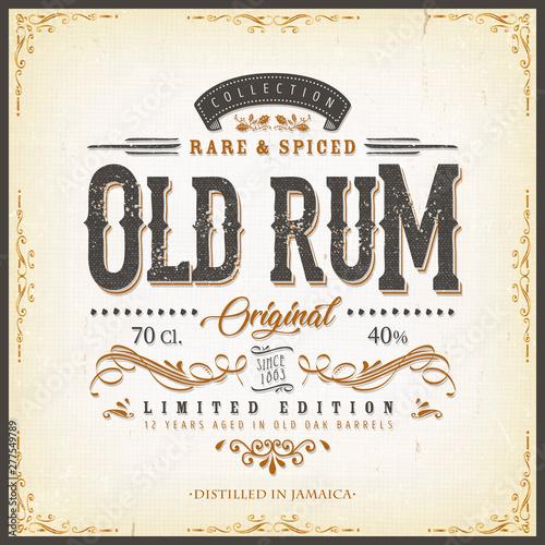 Fotografia Vintage Old Rum Label For Bottle/ Illustration of a vintage design elegant rum b