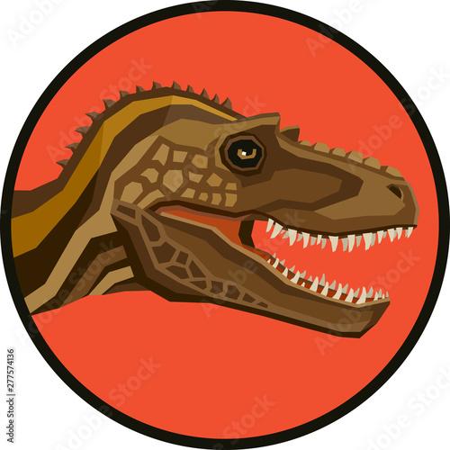 Платно Gorgosaurus Vector illustration of a Dinosaurs Round frame