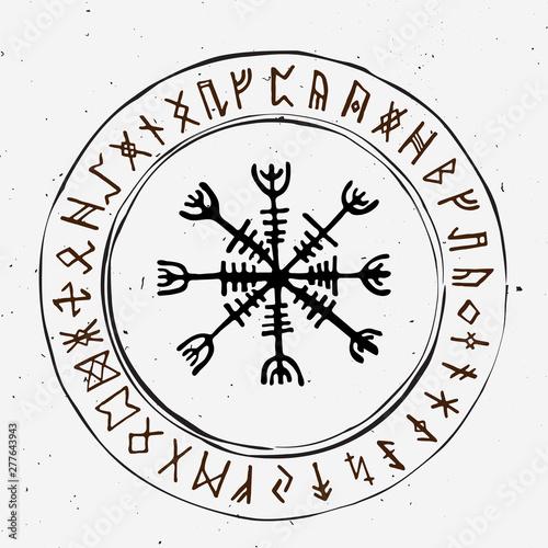 Obraz na plátně Futhark norse islandic and viking runes set