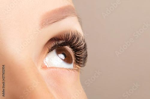 Brown eye with beautiful long lashes closeup Fototapeta