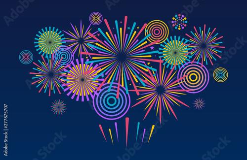 Photo Fireworks background. Vector