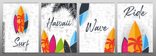 Fotografia Set of Summer Surfing Posters for Surf Club or Shop with hand draw background and Surfboard
