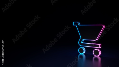 Foto 3d glowing neon symbol of symbol of cart isolated on black background