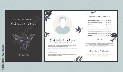 Fotografie, Obraz Botanical memorial and funeral invitation card template design, black paenia lac