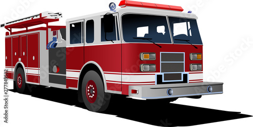 Fotografia, Obraz Fire engine ladder isolated on background. Vector illustration