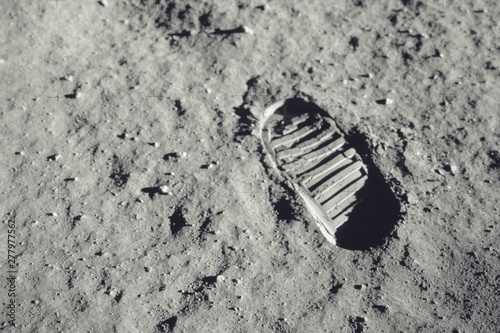 Canvas Print Step on the moon. Elements of this image furnished by NASA