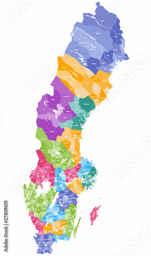 Canvas Print vector colorful map of Sweden municipalities colored by counties