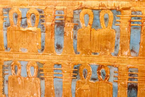 Fotografie, Obraz Close-up of outer golden shrine of famous Egyptian pharaoh Tutankhamun's burial