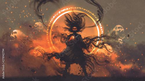 Fototapeta Gniewny czarnoksiężnik trzymający magiczny klejnot, rzucający urok fantasy ścienna