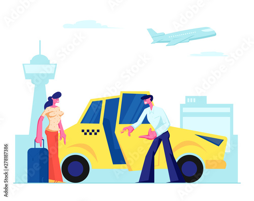Fotografia Experienced Driver Invite Girl Passenger to Car on Airport Background