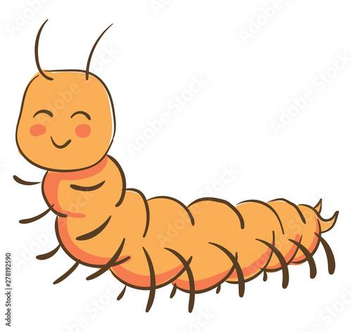 Fotografia Happy orange centipede, illustration, vector on white background.