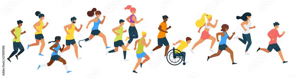 Ilustracja wektorowa płaskie maratończycy <span>plik: #278195188   autor: thruer</span>