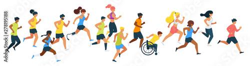 Fotografie, Obraz Marathon runners flat vector illustration