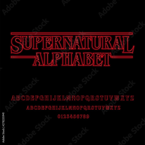 Fotografia Supernatural Alphabet With Red Glowing Letters