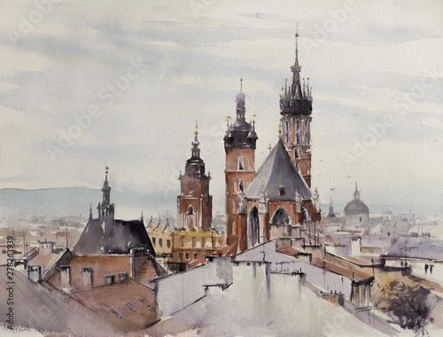Fotografia Old town, Kracow, Poland with Miariacki Church in background