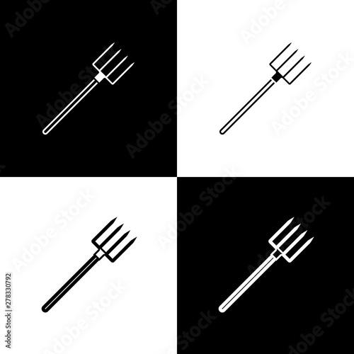 Fotografia, Obraz Set Garden pitchfork icon isolated on black and white background
