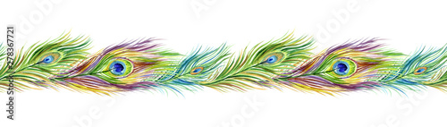 Fotografia Peacock feather seamless border, watercolor painting on white background