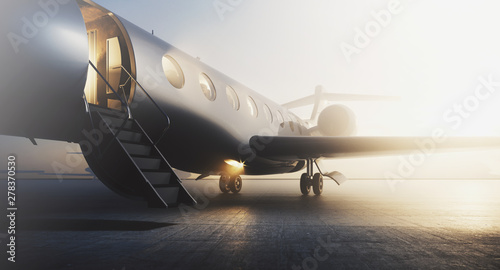 Fotografia Business private jet airplane parked at terminal