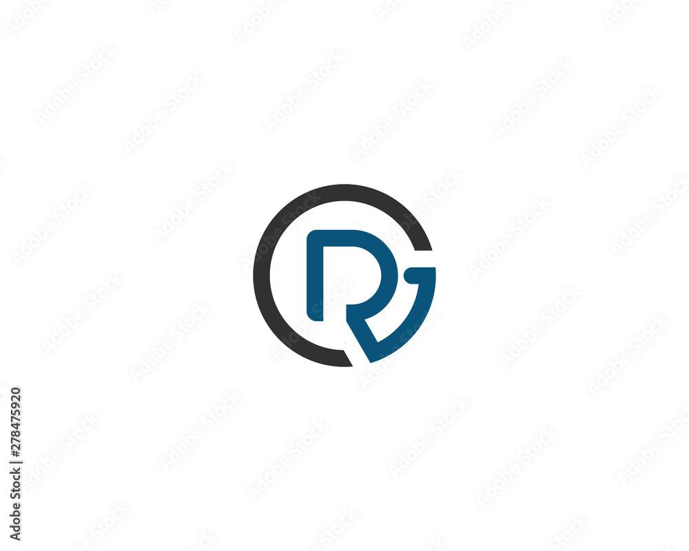 Obraz abstract letter logo initial RG design template vector illustration fototapeta, plakat