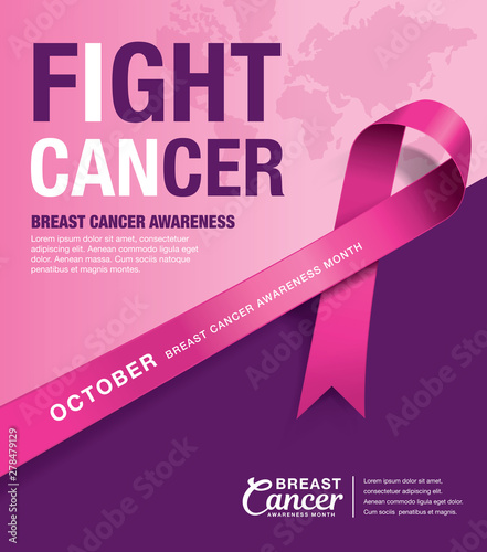 Photo Breast Cancer Awareness Month poster design with pink ribbon