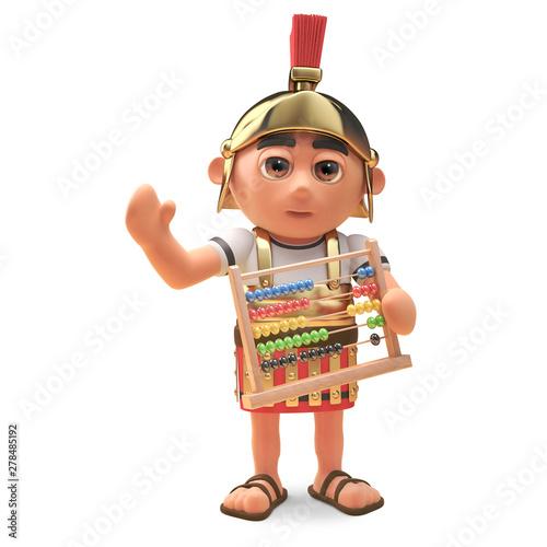 Fotografie, Obraz Maths minded Roman centurion soldier holding an abacus, 3d illustration